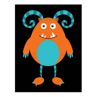 Retro Cute Orange Monster Postcard