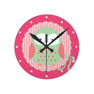 Retro Cute Owl Pink & Green Girly Round Wall Clock