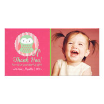 Retro Cute Owl Pink & Green Girly Thank You Card
