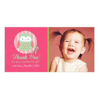 Retro Cute Owl Pink & Green Girly Thank You Photo Card