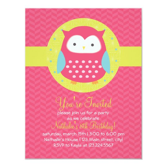 Retro Cute Owl Pink & Turquoise Girly Birthday Card