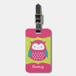 Retro Cute Owl Purple & Green Girly Personalized Tag For Luggage