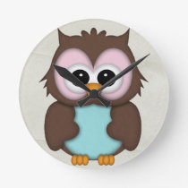 Retro Cute Owl Round Clock