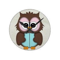 Retro Cute Owl Round Clock