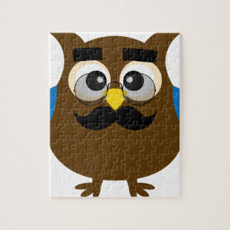 Retro Cute Owl with Mustache and Glasses Jigsaw Puzzle