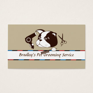 Retro Cute Pet Grooming Service Business Card
