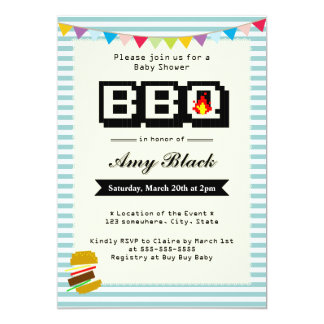 Retro Cute Pixel Baby Shower BBQ Party Invitations