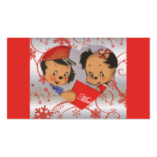 Retro Cute Puppies in Love Christmas Business Card