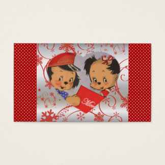 Retro Cute Puppies in Love Christmas Polka Dots Business Card