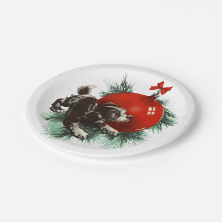 Retro Cute Puppy Dog Holiday Christmas Party Paper Plate