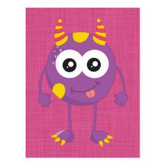Retro Cute Purple Monster Postcard