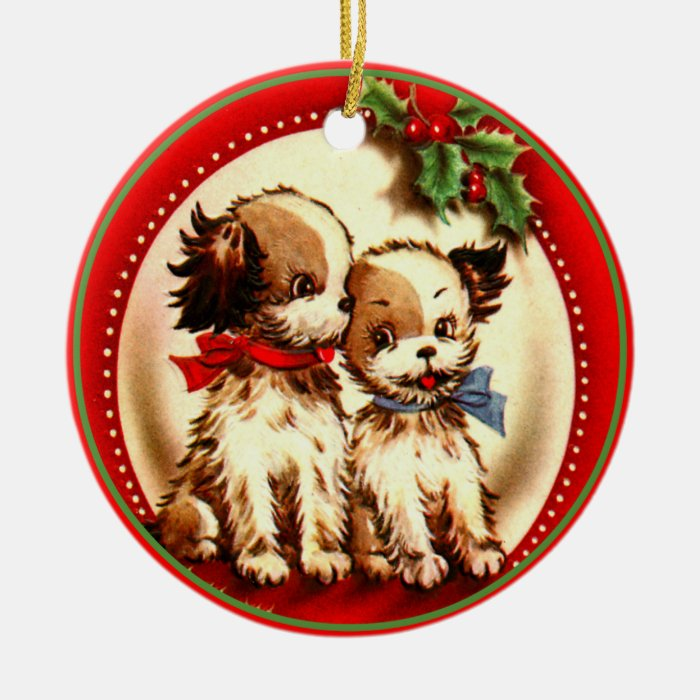 Retro Cute Spaniel Pups Red & Green Holly Ornament