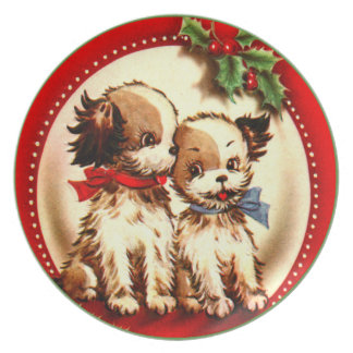Retro Cute Vintage Spaniel Pups Red Green Holly Melamine Plate