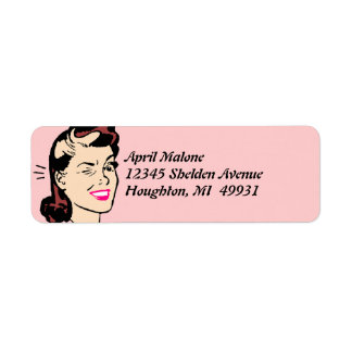Retro Cute Wink Winking Lady Winks Labeling Labels