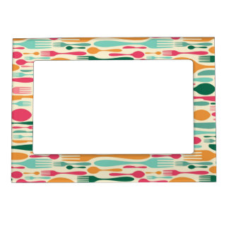 Retro Cutlery Pattern Background Magnetic Photo Frame