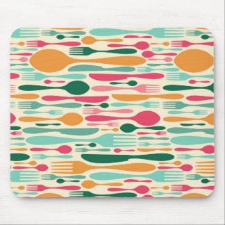 Retro Cutlery Pattern Background Mouse Pad