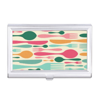 Retro Cutlery Pattern Background Case For Business Cards