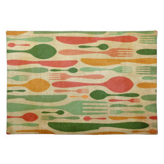 Retro cutlery pattern background placemats