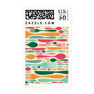 Retro Cutlery Pattern Background Postage