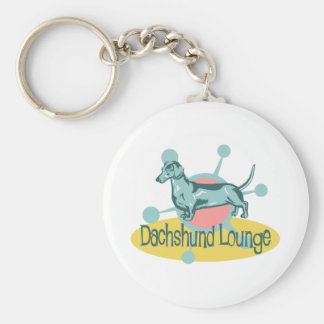 Retro Dachshund Lounge Keychain