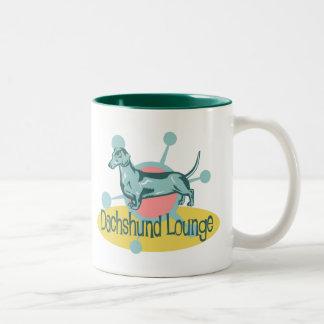 Retro Dachshund Lounge Two-Tone Coffee Mug