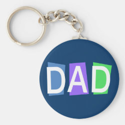 Retro Dad Basic Button Keychain