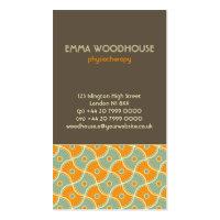 Retro!Dahlia Brown, Orange and Aqua Business Card Templates