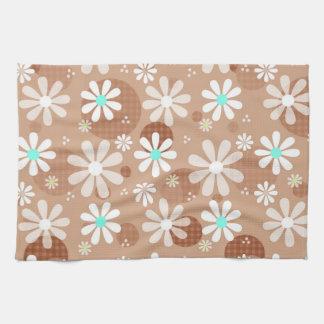 Retro Daisies and Brown Polka Dots Kitchen Towel