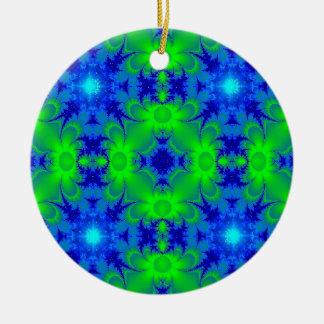 Retro daisies and stars kind Deco in green blue Ceramic Ornament