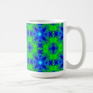 Retro daisies and stars kind Deco in green blue Coffee Mug