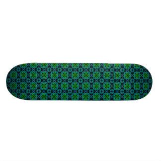 Retro daisies - kind Deco in green blue black Skateboard Deck