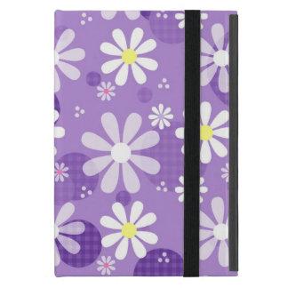 Retro Daisies Purple Gingham Circles Cover For iPad Mini