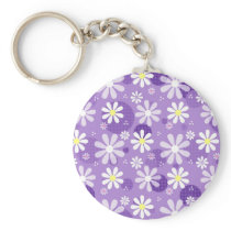 Retro Daisies Purple Gingham Circles Keychain