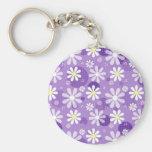Retro Daisies Purple Gingham Circles Keychains