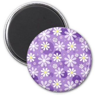 Retro Daisies Purple Gingham Circles Magnet