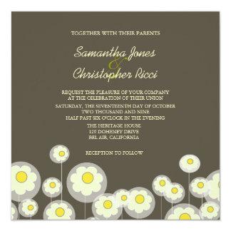 Retro Daisies Wedding Invitations/diy color