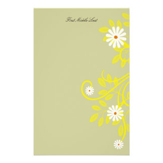 Retro Daisy and Yellow Filigree Border Stationery