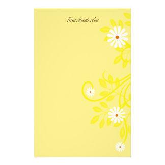 Retro Daisy and Yellow Filigree Border Stationery Design