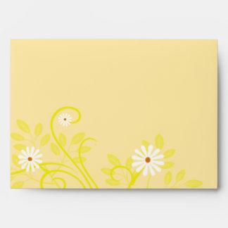 Retro Daisy and Yellow Filigree Envelope