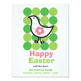 Retro Daisy Baby Chick Bird Cute Whimsical Easter Card