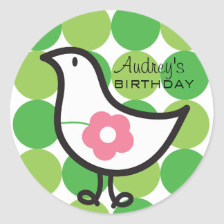 Retro Daisy Baby Chick Bird Whimsical Cute Dots Classic Round Sticker