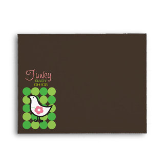 Retro Daisy Baby Chick Bird Whimsical Cute Dots Envelope