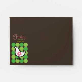 Retro Daisy Baby Chick Bird Whimsical Cute Dots Envelopes
