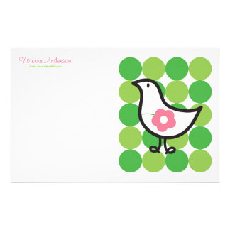 Retro Daisy Baby Chick Bird Whimsical Cute Dots Stationery Design