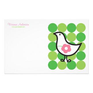 Retro Daisy Baby Chick Bird Whimsical Cute Dots Stationery