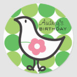 Retro Daisy Baby Chick Bird Whimsical Cute Dots Classic Round Sticker