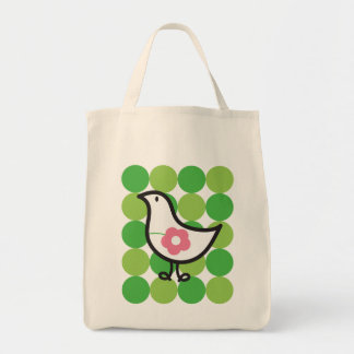 Retro Daisy Baby Chick Bird Whimsical Cute Dots Tote Bag