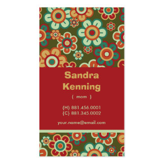 Retro Daisy Blooms Photo Mom Calling Profile Card Double-Sided Standard Business Cards (Pack Of 100)