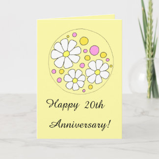 Retro Daisy Flowers Happy 20th Anniversary Card