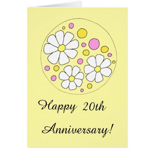 retro daisy flowers happy 20th anniversary card zazzle. Black Bedroom Furniture Sets. Home Design Ideas
